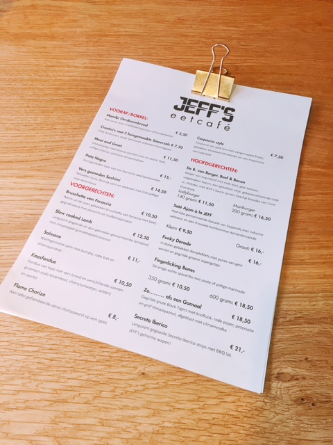 Kaart jeffs eetcafe